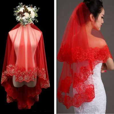 Embroidered Bridal Red Veil Wedding Lace Tulle Head Hair Accessories Appliques