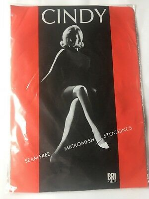 True vintage stockings cindy size 8.5 rose dust 1960s seam free bri-nylon retro
