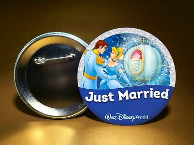 """JUST MARRIED - w/ Disney's Cinderella & Charming - 3"""" PIN BACK BUTTON -FREE SHIP"""