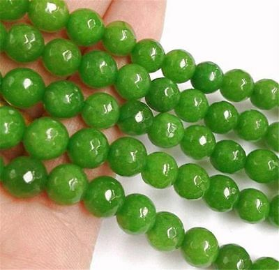 """Faceted 8mm Green Peridot Round Beads Loose Beads Gemstone 15"""" strand AA"""