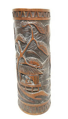 Antique Vintage 20th Century Republic Carved Tall Bamboo Brushpot