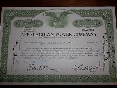 Preferred stock certificate Appalachian Power Company - circulated