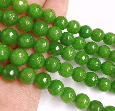 """Faceted 8mm Green Peridot Round Beads Loose Beads Gemstone 15"""" strand AAAA"""