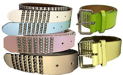 LADIES MEN/'S BLACK /& BROWN PYRAMIDS /& STUDS LEATHER BELTS  FASHION BELT 2845