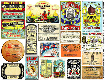Victorian Apothecary Labels, 2 Sticker Sheets, Antique Perfume & Druggist Labels