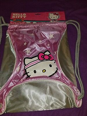 New Hello Kitty Sports Sack Pack With Draw Strings Pink and Grey for Girls