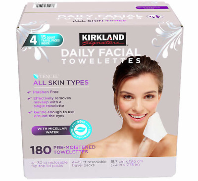 The Best Kirkland Signature Daily Facial Wipes Cleansing Towelettes Wipes 180 CT