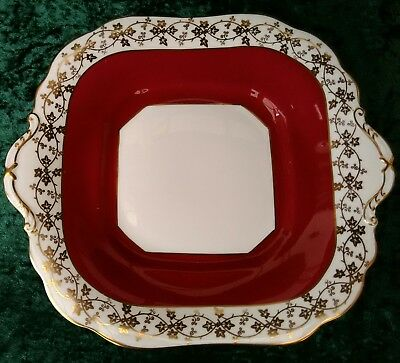 Vintage Aynsley Bone China Square Lugged Cake Plate White Red Gold Ivy 30s #1295
