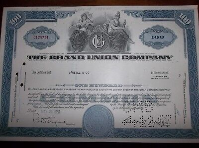 stock certificate The Grand Union Company -circulated