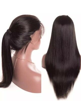 UK Human Hair Wigs 26'' for Lady Long Straight Lace Front Full Wig w/ Baby Hair