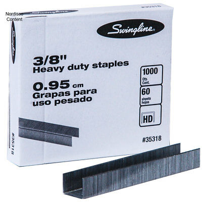 "Swingline 35318 3/8"" Heavy Duty Staples, Box of 1000"