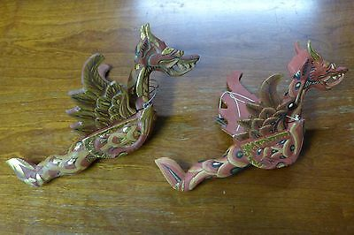 Indonesian / Balinese Handcrafted Wooden Small Red Gold Flying Hanging Dragon