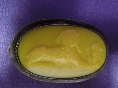 Antique Egyptian Revival Art Deco Silver Sphinx Yellow Glass Brooch Pin