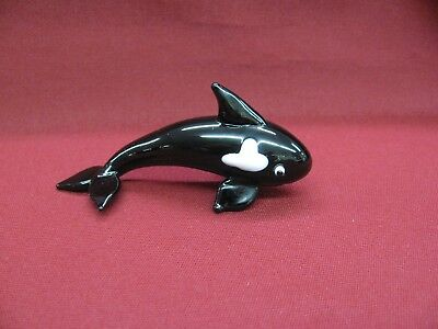 Glass Orca Killer Whale Figurine Black White