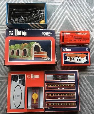 lima 4506a train set tunnel station minicon + figurines + extra track tri-ang