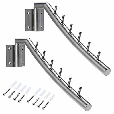 """Sumnacon 12.6"""" Wall Mounted Clothes Hanger Rack, 2 Sets Stainless Steel Garment"""