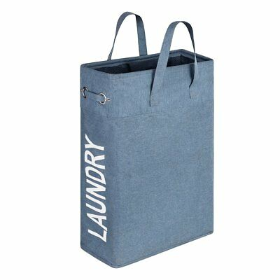 WISHPOOL Slim Handy Canvas Laundry Bag Hamper Foldable Laundry Basket Bag with