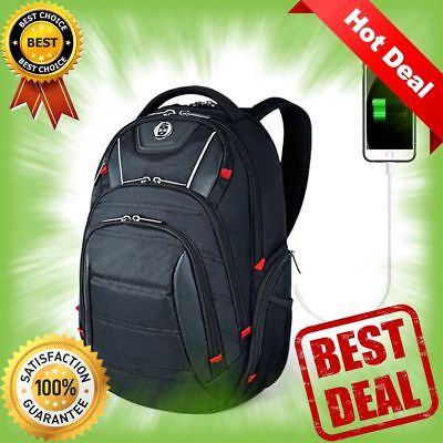 Laptop Backpack, Busniess Travel Polyester Backpack with USB Charging Port Black
