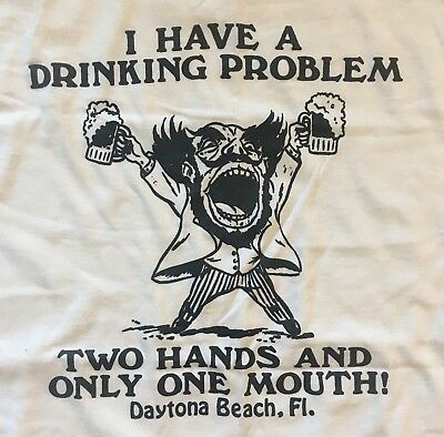 18487fa6 Vintage 80s Shirt Novelty Drinking Problem T Shirt Only Two Hands Funny XL  Beer