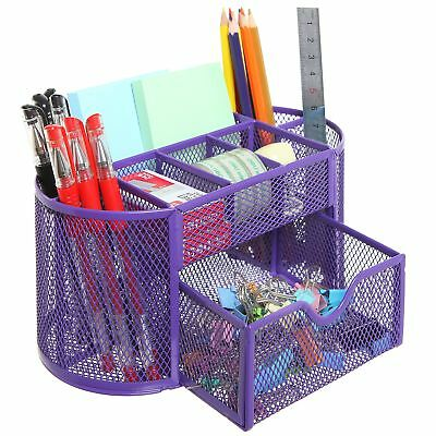MyGift Space Saving Purple Metal Wire 8 Compartment Office / School Supply