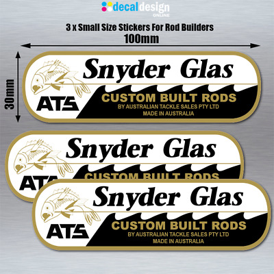 Snyder Glas ATS Stickers x 3 Small Decals For Rod Builders fishing #S032