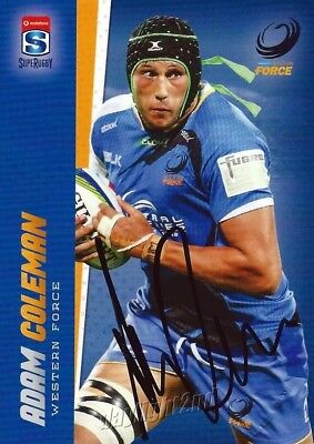 ✺Signed✺ 2017 WESTERN FORCE Rugby Union Card ADAM COLEMAN