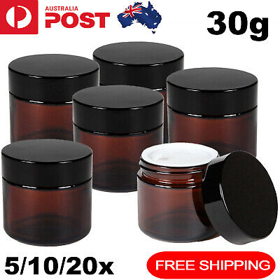 5-20x 30g Amber Glass Cosmetic Jars Black Lid Creams Cosmetics Containers Spices