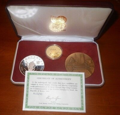 1988 South Korea  Seoul Olympics Proof Medal Set  Gold, Silver, Copper