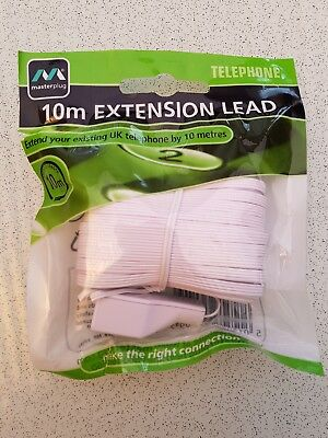 10M Telephone Fax Extension Lead / Cable, Bt  Masterplug  High Quality