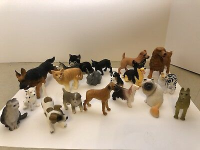 Lot 20 pc dogs and cats Schleich and other brands animal learning toys FREE SHIP