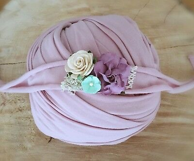 Mauve Soft Cotton Jersey Stretchy Wrap Headband Set Baby Newborn Photo Prop