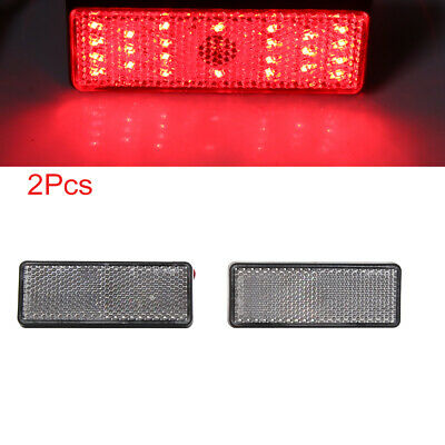 2pcs Red LED Light Square Shape Motorcycle Reflector Rear Tail Brake Stop Lamp