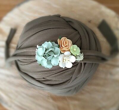 Olive Green Soft Cotton Jersey Stretchy Wrap Headband Baby Newborn Photo Prop