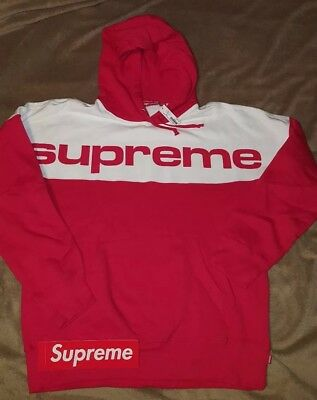 f05648303a77 Supreme New York Bogo Blocked Hooded Sweatshirt Red Size XL 17FW Box Logo