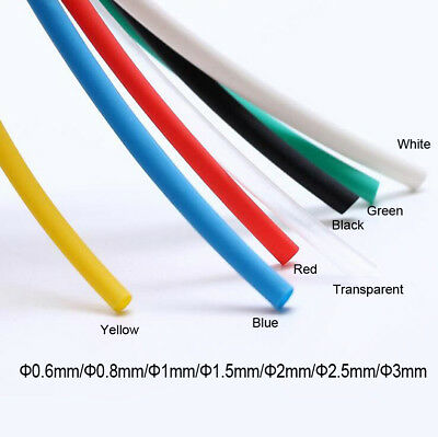 Heat Shrink 0.6mm - 3mm 2:1 Various Colours Tubing Tube Sleeving Wrap Wire Cable