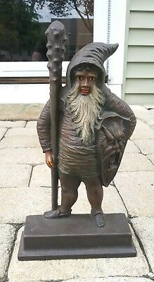 1880's ANTIQUE BRADLEY HUBBARD WARRIOR ELF GNOME CAST IRON MAN CLUB ART DOORSTOP