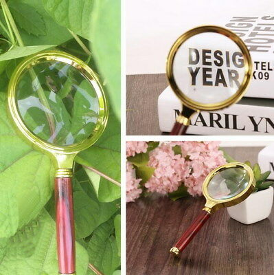 Handheld Glass Magnifier Wood 10X Magnifying Identification Jewelry 60 70 80mm
