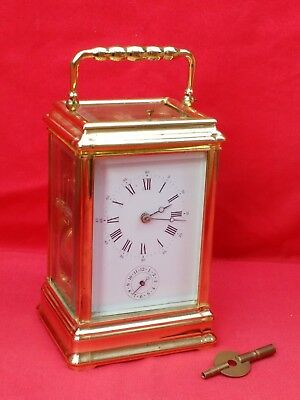 Vintage Gorge Case L'epee Strike / Repeat / Alarm Carriage Clock & Key. Working