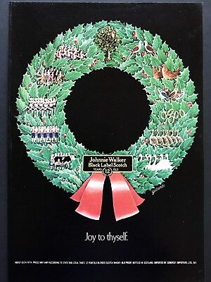 1973 Vintage Print Ad JOHNNIE WALKER Black Label Scotch Christmas Wreath Holiday