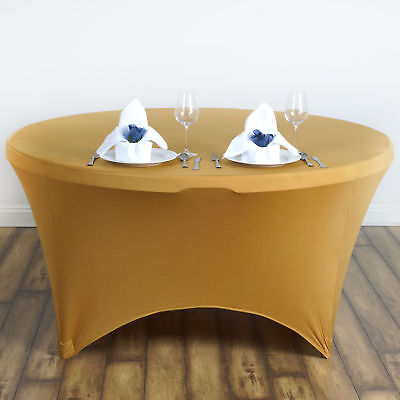 "Gold ROUND 60"" SPANDEX STRETCHABLE TABLECLOTH Wedding Catering Decorations SALE"