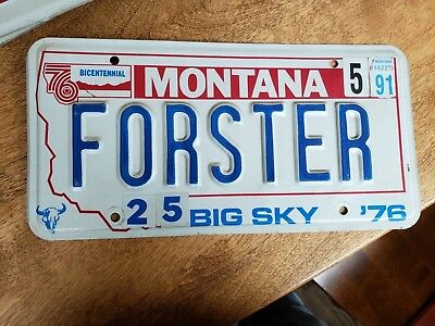 "Montana License Plate 1991 ""Forester"" Forster"