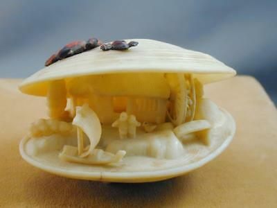 Vintage Faux Carved Bone Celluloid Clam Shell Netsuke Style Asian Japanese