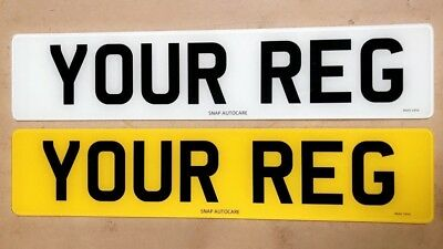 Pair of Plain Standard MOT UK Road Legal Car Van Reg Registration Number Plates