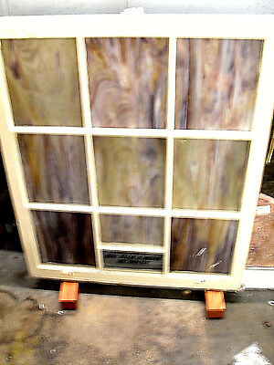 "VINTAGE Antique STAINED GLASS WINDOWS FROM CHURCH rare  36"" x 34"", 9 panel"