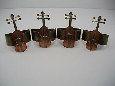 Vtg Copper & Brass Violin Cello Metal Napkin Rings Home Decor Mid Century Style