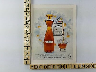 1958 Vintage Old Forester Bourbon Whisky Pouring Glass Print Ad