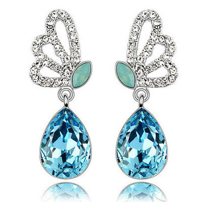Big Stone Angel Cuff Earring Wing For With Large Drop Blue Long Crystal Bow