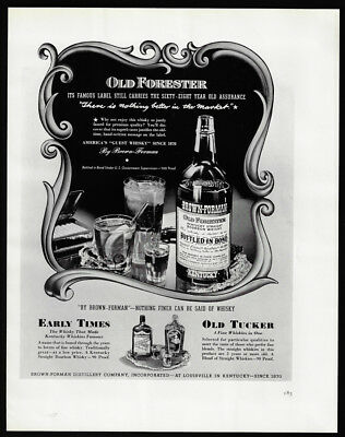 1938 Vintage Print Ad 30's OLD FORESTER bourbon whiskey bottle glass ice tray