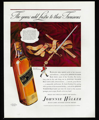 1938 Vintage Print Ad 30's JOHNNIE WALKER black label scotch sword image