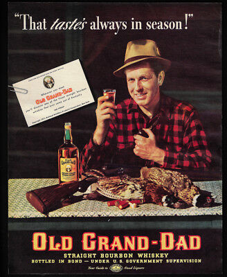 1938 Vintage Print Ad 30's OLD GRAND DAD bourbon whiskey hunting image